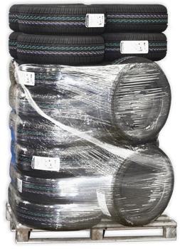 TON-Reifen-auf-Palette